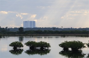 Sunrise view of VAB from refuge