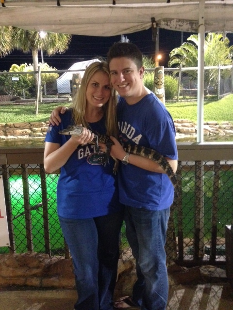 My husband Chris and I with Al the alligator!