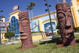 The tikis in front of the building are just one of the cool places to take a photo!